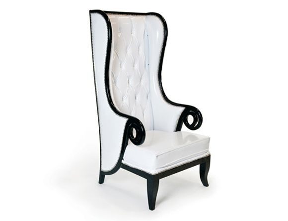 Bon White Patent, Diamond Tufted Wingback Chair Trimmed In Black