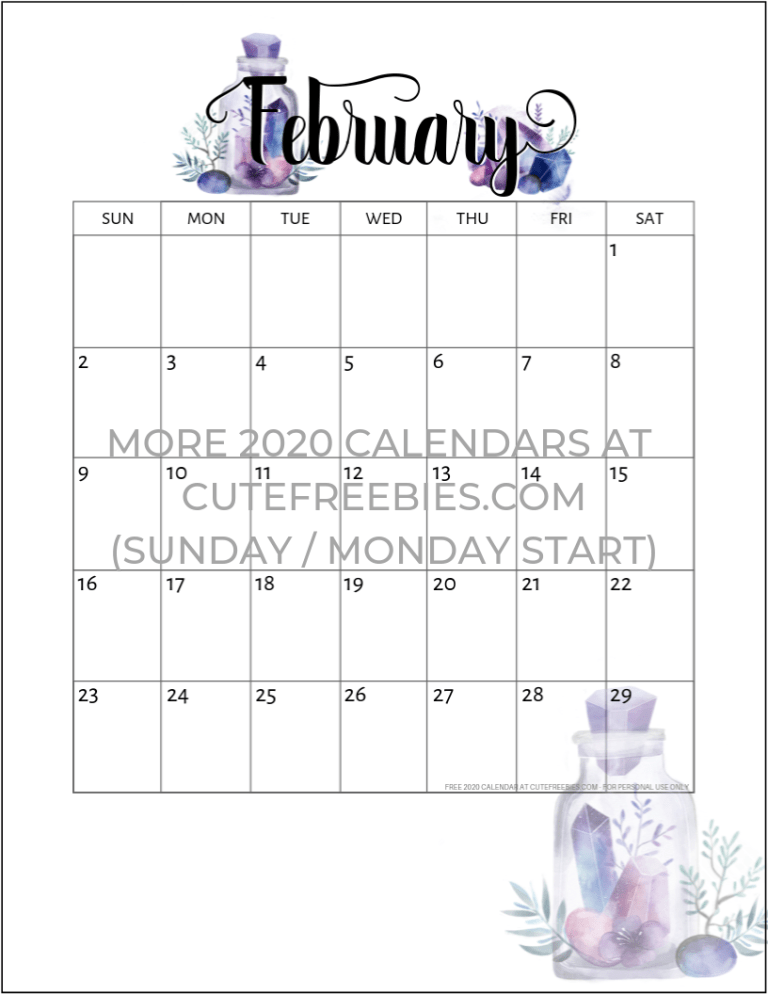 Purple February 2020 Calendar Free Printable 2019 2020 Calendar   Crystal Gems |   2020 Calendar