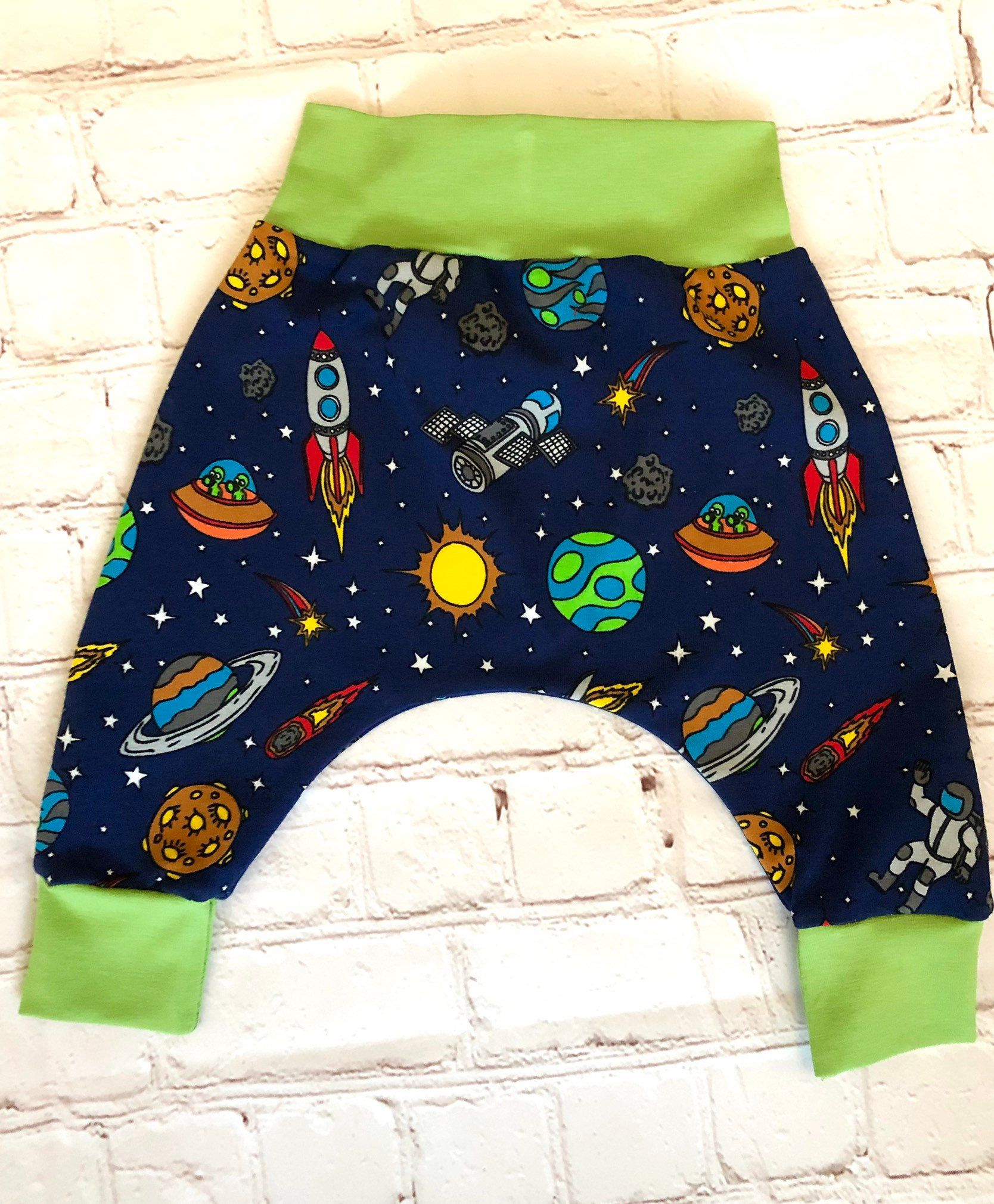 Baby Harem Trousers, Age 0-3 Months, Space Fabric Excited to share this item from my shop: Baby Harem Trousers, Age 0-3 Months, Space Fabric