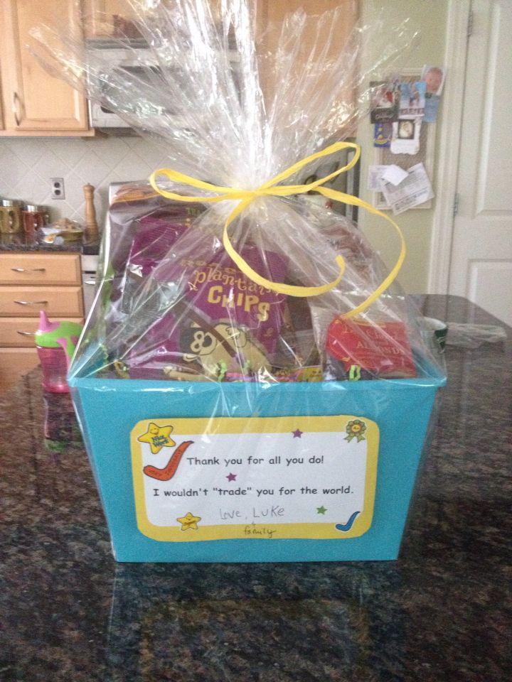 Teacher\'s Gift.... Fill a basket with favorite Trader Joe\'s goodies ...