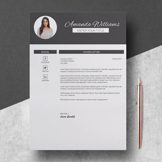 Modern Resume Template Pages CV Template for Word 3 Pages Resume