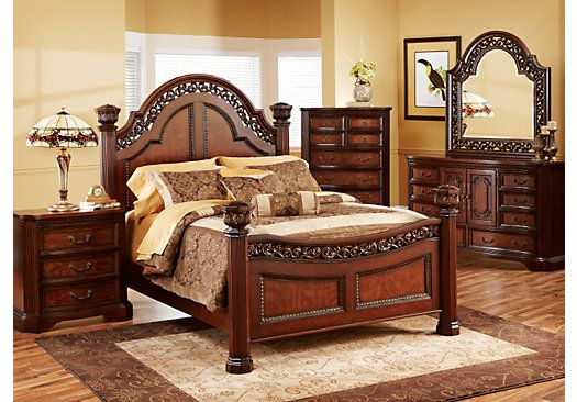 Beckford King Dark Cherry 5Pc Poster Bedroom | My bedroom ideas