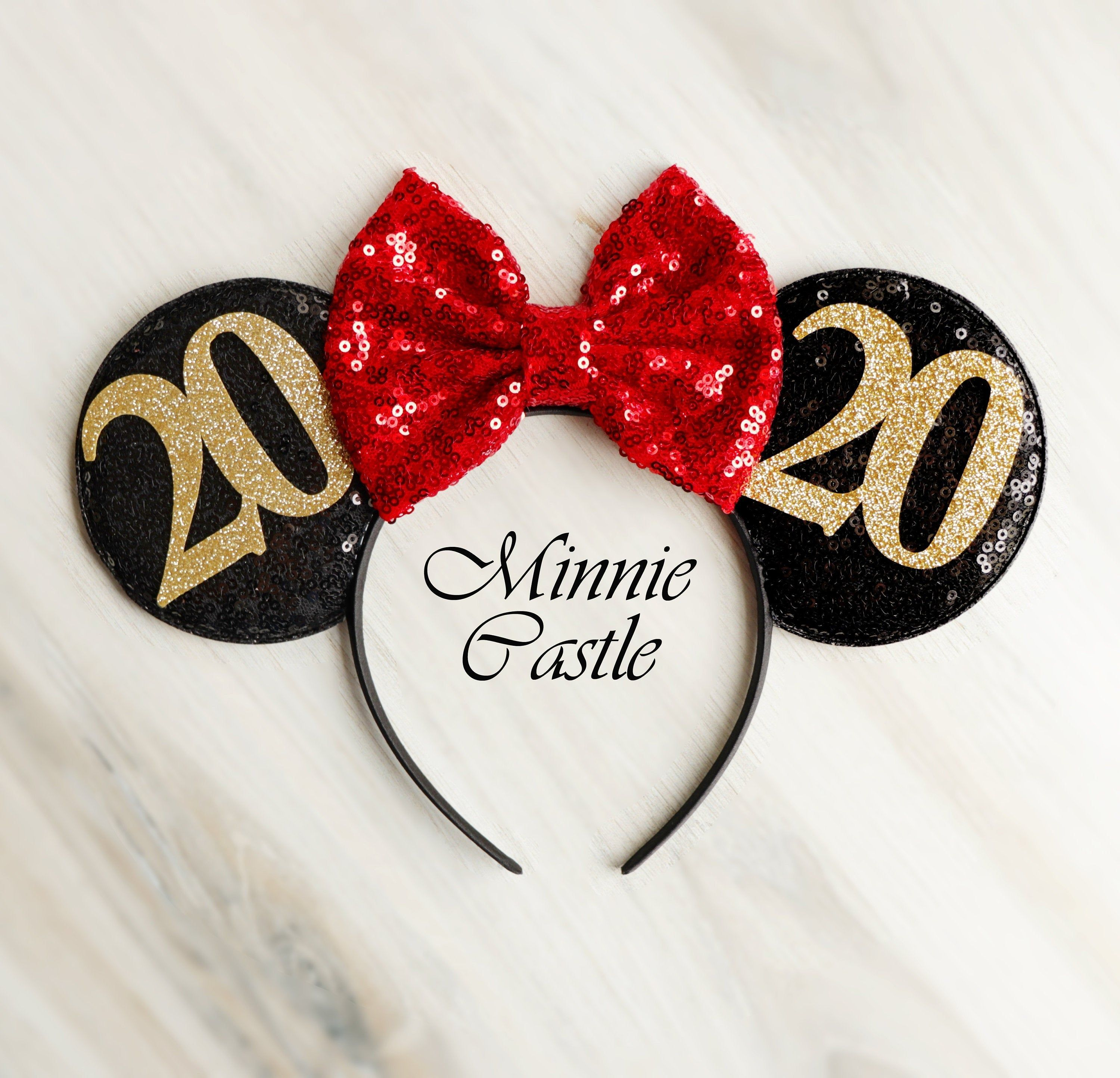 Disney Christmas Ears 2020 New Years Eve Party Red Minnie mouse ears headband 2020 New | Etsy
