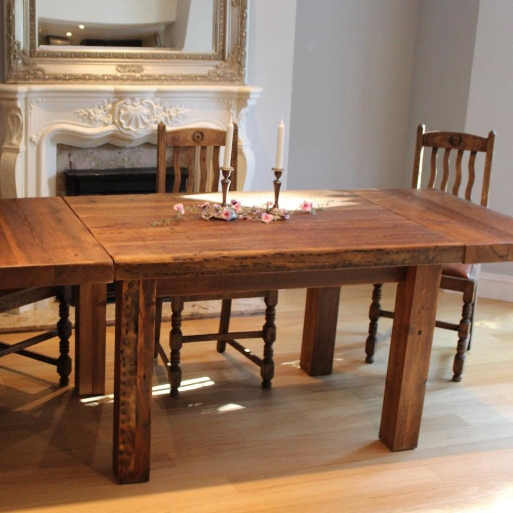 Bespoke dining table design - English Beam Farmhouse Extendable Reclaimed Wood Dining Table Dark