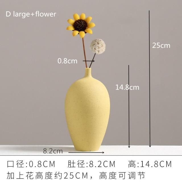 Photo of European Simple Ceramic vase yellow Porcelain vases small flower vase DIY Bottle wedding vases for table decorations home decor – D Big and flower