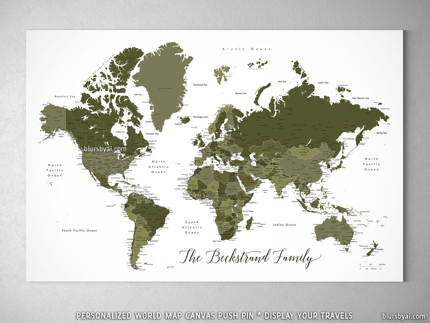 Personalized world map with cities canvas print or push pin map in personalized world map with cities canvas print or push pin map in military green gumiabroncs Image collections