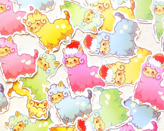 Cute alpaca stickers kawaii llama sticker pack by beaglecakesart