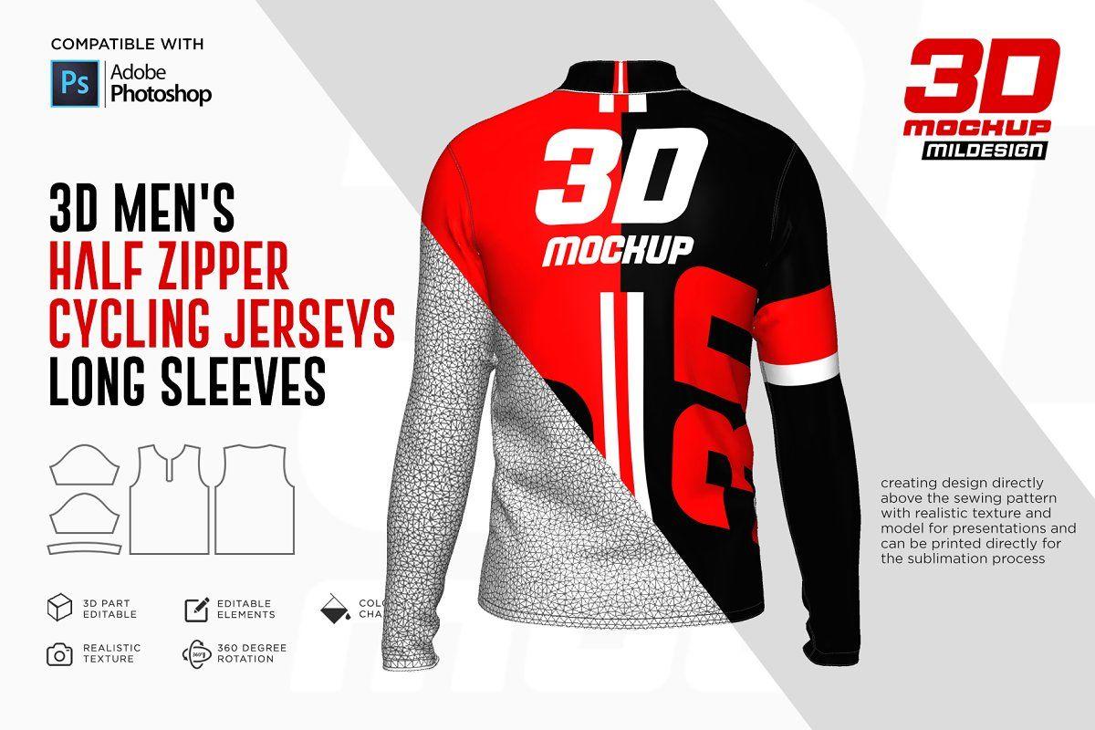 Download 3d Men S Halfzipper Cycling Jersey Sponsored Adobe Photoshop Mockup File Cycling Jersey Men Jersey Design Jersey