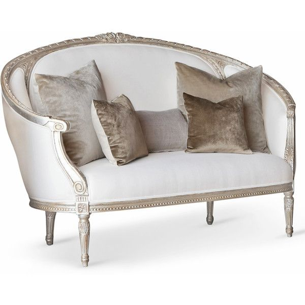 Versailles Gustavian French Country Silver Leaf White Linen Canape... ($4,435) ❤ liked on Polyvore
