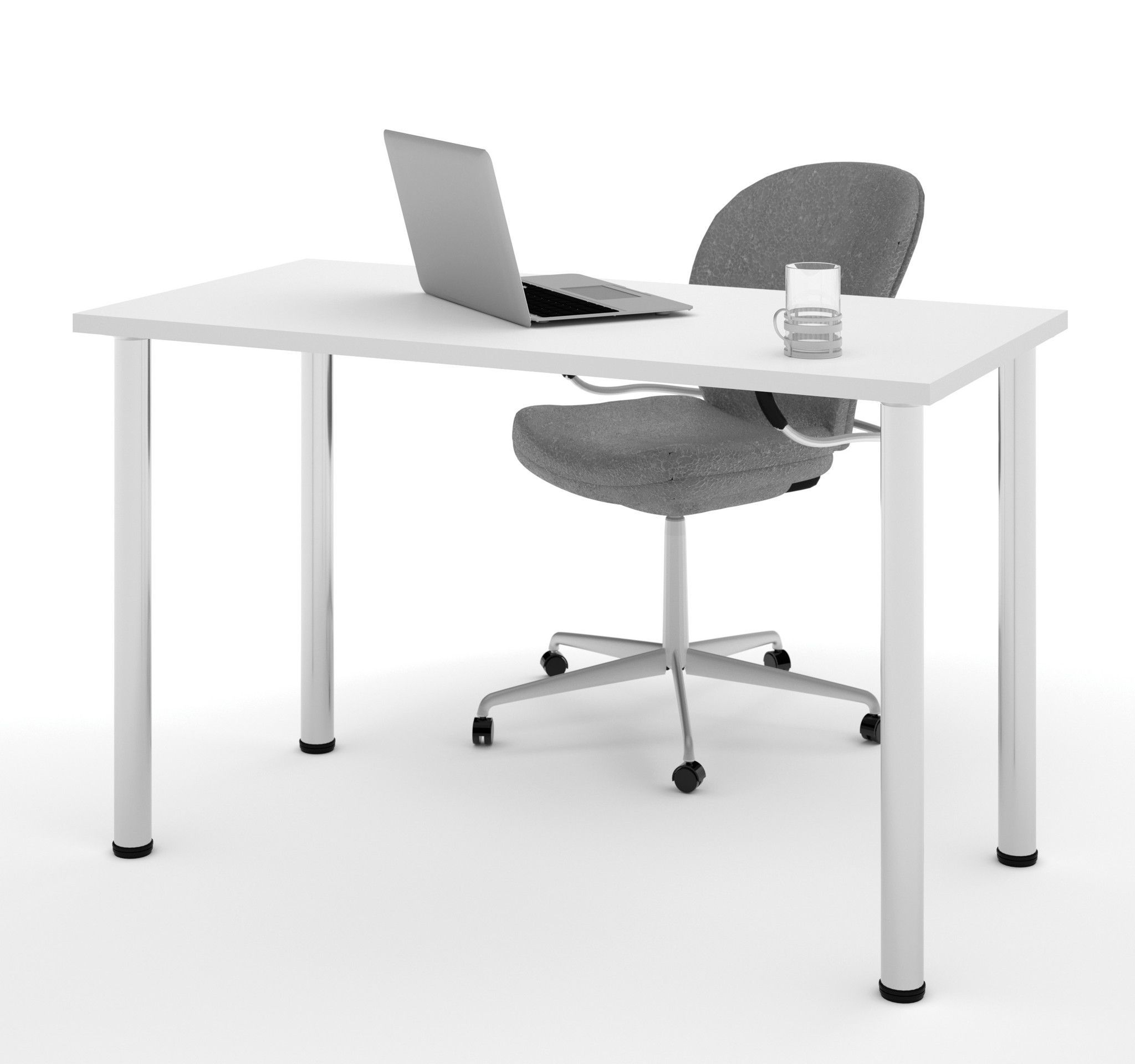 Modern Office Desk With Premium White Top Silver Legs Office - 48 inch round office table