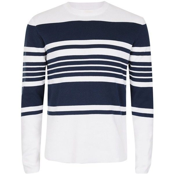 TOPMAN White and Navy Stripe Jumper ($37) ❤ liked on Polyvore ...