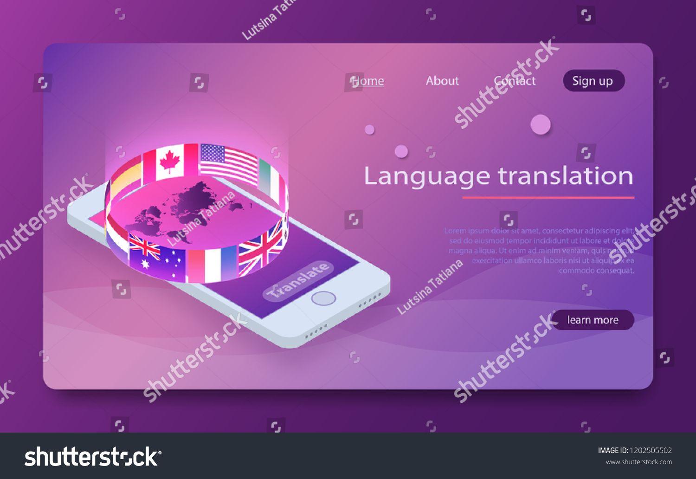 Online translator concept isometric vector illustration