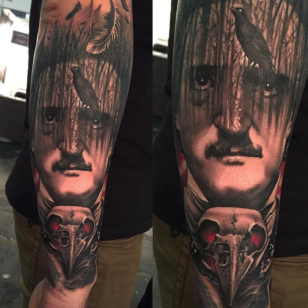 the raven edgar poe tattoo inkspiration the raven the raven edgar poe tattoo