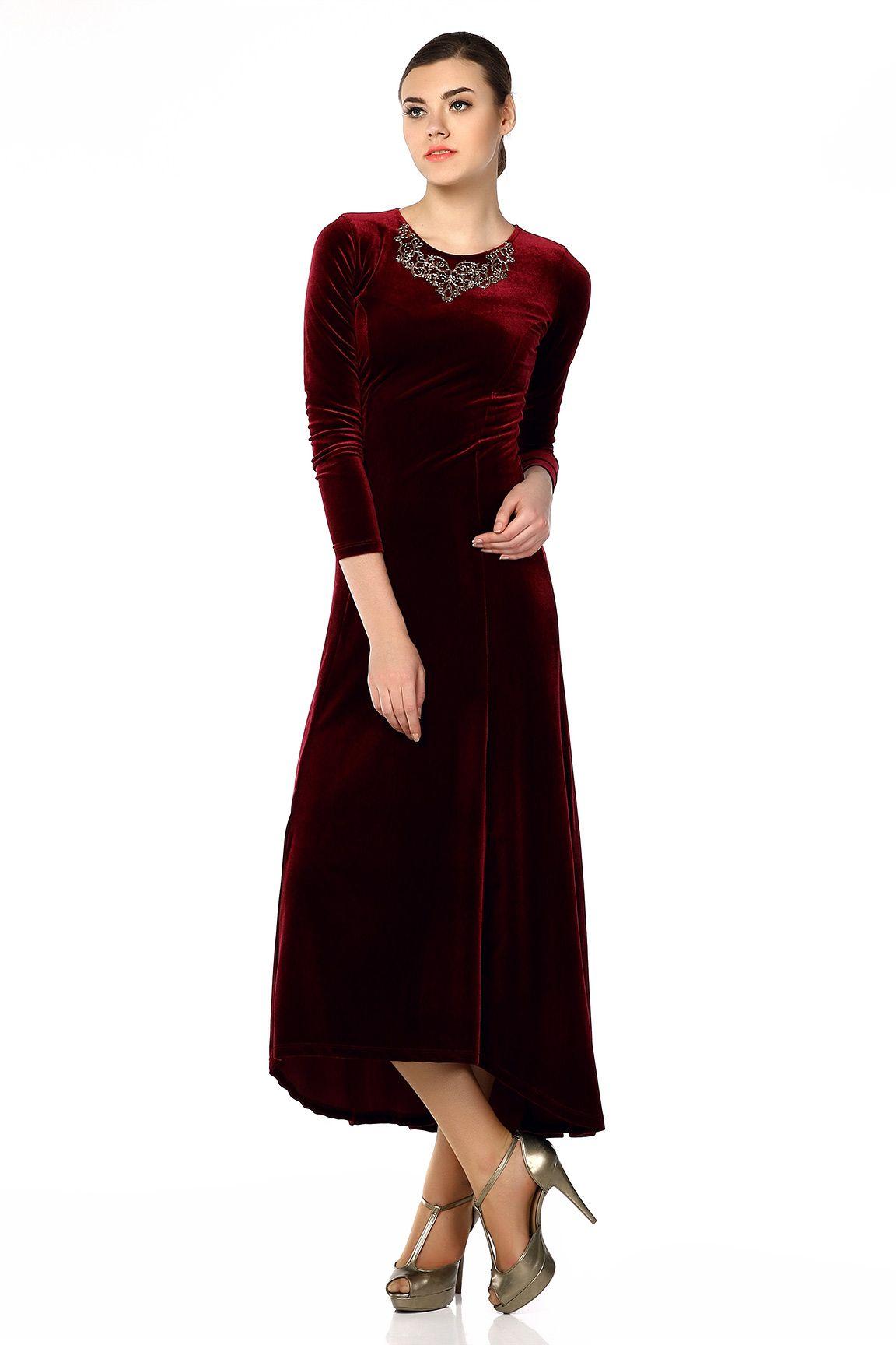 Bordo Yaka Aksesuarli Kadife Elbise Tozlu Com Elbise Elbiseler Giyim