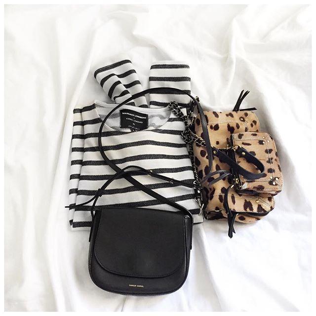 Et donc le Haut du jour et l'hésitation sac du matin! • Knit #margauxlonnbergxaudreylombard (on @margauxlonnberg) • Bags #mansurgavriel #jeromedreyfuss ...