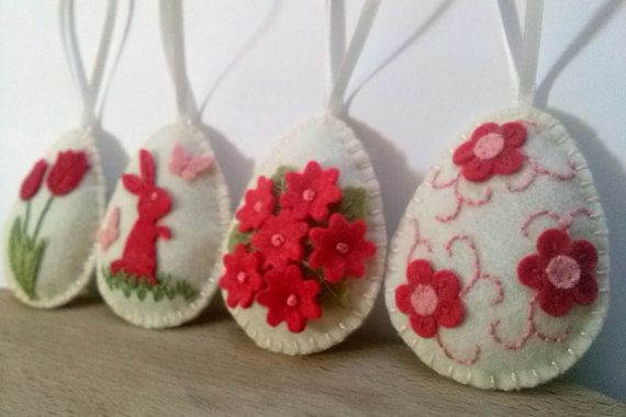 Felt easter decoration  felt eggs with flowers and by DusiCrafts