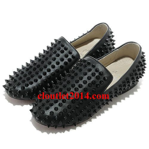 c838b9a9530 Discount Christian Louboutin Rollerboy Spikes Flats All Black Studded  Loafers