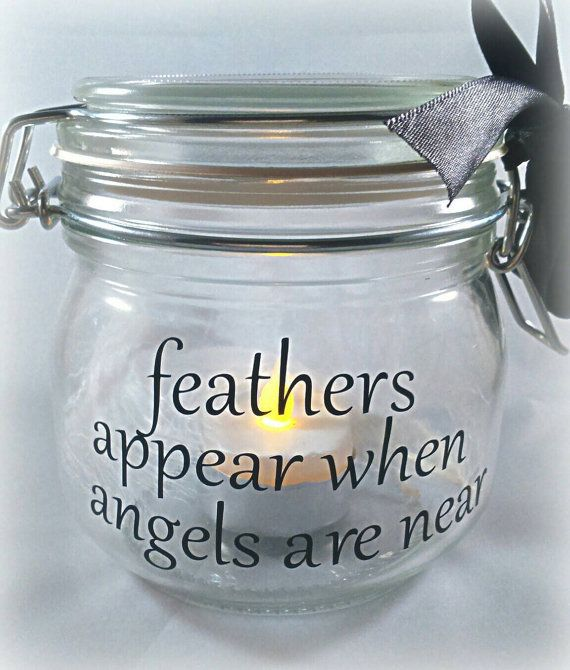 Memory Jar Light Jar With White Feathers Remembrance Jar White Feather Memory Loss Of Relatives Funeral Lig Memory Jar Mason Jar Candles Mason Jar Gifts
