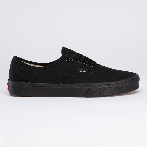 Womens Vans Authentic Trainers - Black/Black ($69) ❤ liked on Polyvore