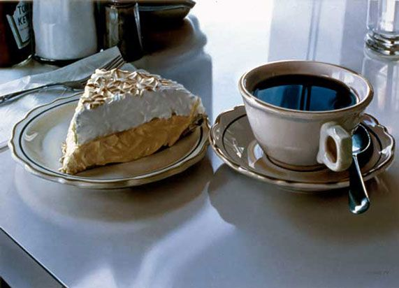 """Cream pie"" - Ralph Goings {contemporary artist #hyperreal still life pie coffee photorealism painting}"