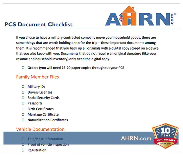PCS Document Checklist With AHRN.com