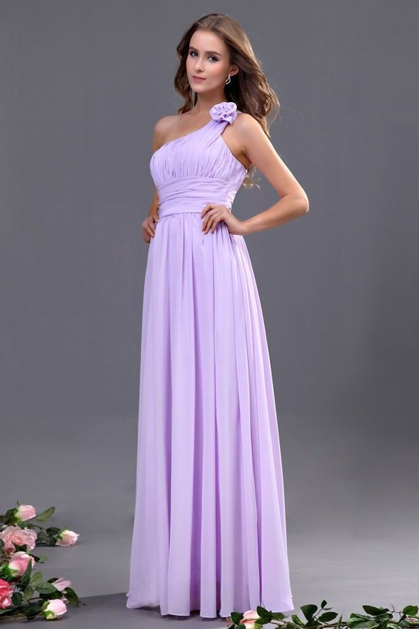 Elegant One Shoulder Lavender Bridesmaid Dress Accented with Flowers ...