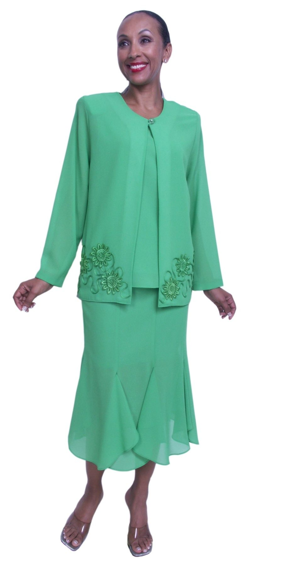 Mother of Bride Kelly Green Plus Size Dress 3 Piece Tea Length ...