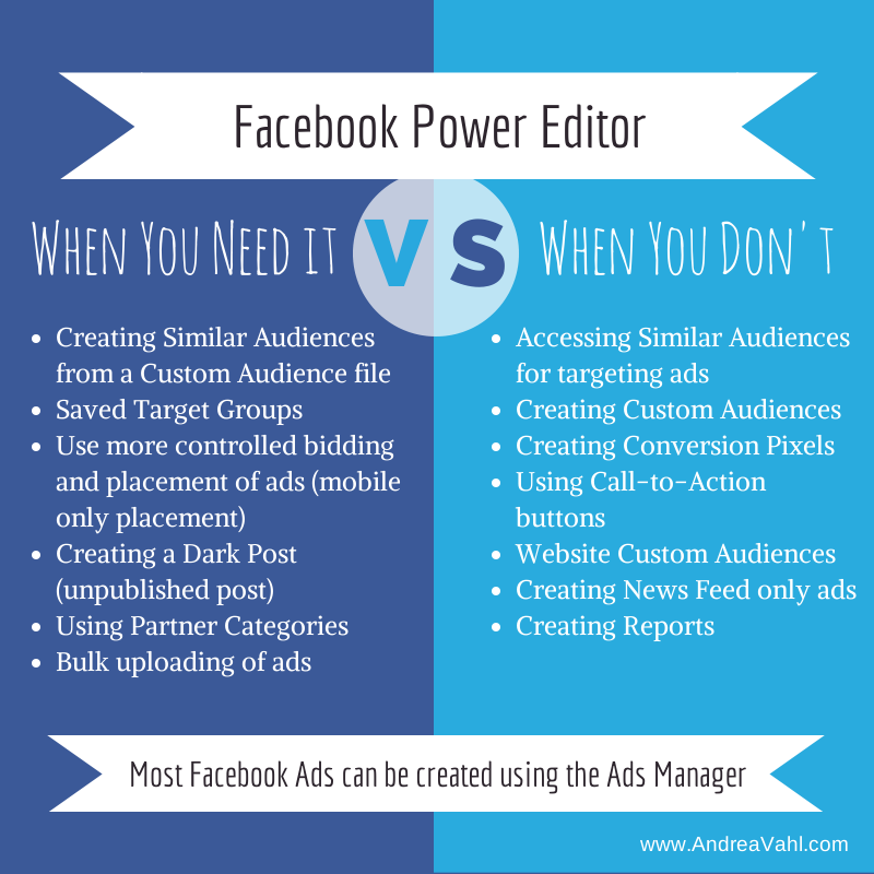 When You Need To Use Facebook Power Editor And When You Don T Facebook Power Editor Social Media Infographic Facebook Ads Examples