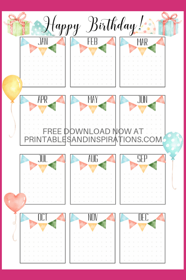 Bullet Journal Birthday Printables #birthdaymonth