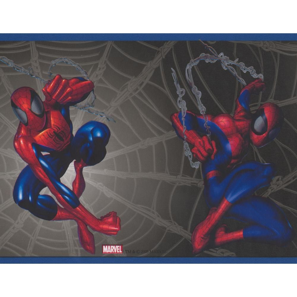 York Wallcoverings Spiderman on Web Black Marvel Comics