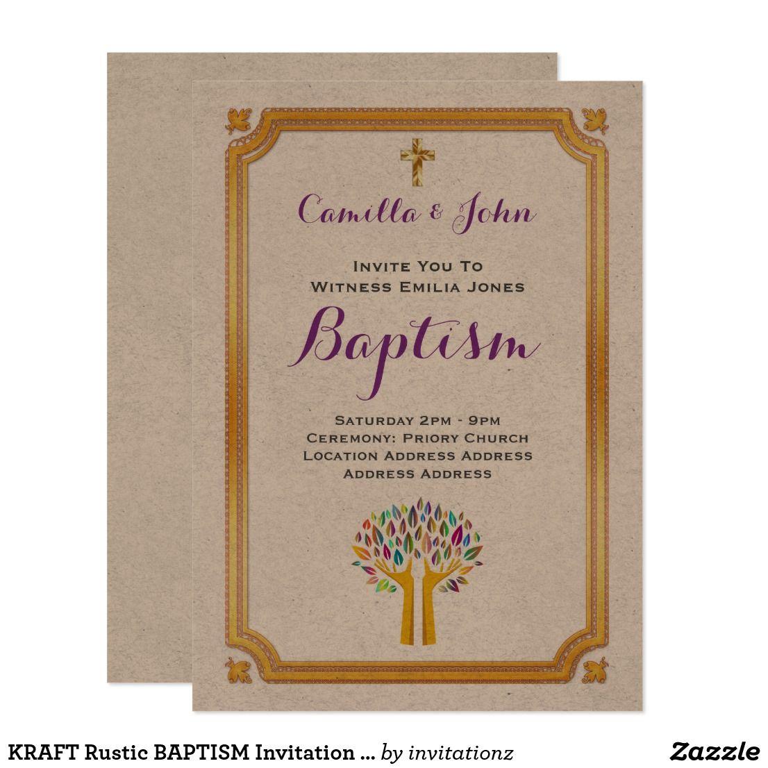KRAFT Rustic BAPTISM Invitation Gold Tree Of Life