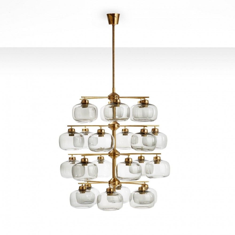 Holger Johansson Chandelier With 24 Smoked Glass Shades Sweden