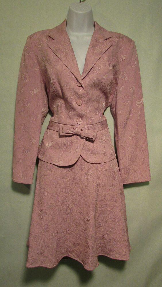 Sz 10 Petite Perceptions Mauve Skirt Suit | eBay