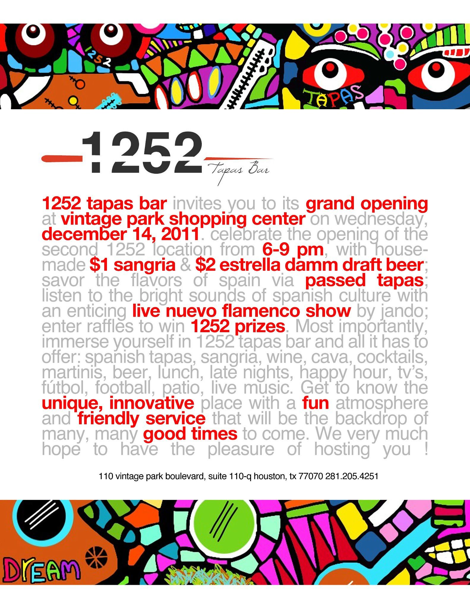 1252 Tapas Bar At Vintage Park Grand Opening Invitation Tapas Bar Tapas Grand Opening Invitations