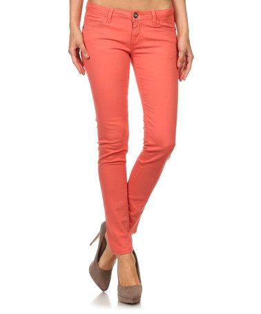 Coral Mid-Rise Jeans #zulily #zulilyfinds
