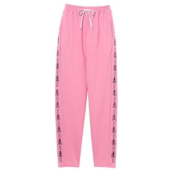 BONNIE SKULL JERSEY PANTS ❤ liked on Polyvore featuring pants, skull pants, pink pants, pink trousers, pink jersey and jersey pants
