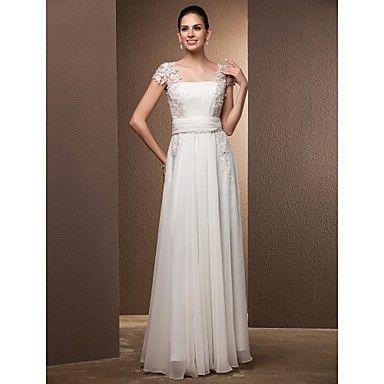 Vaina / plaza vestido de boda de la Piso-Longitud de la columna – USD $ 237.49