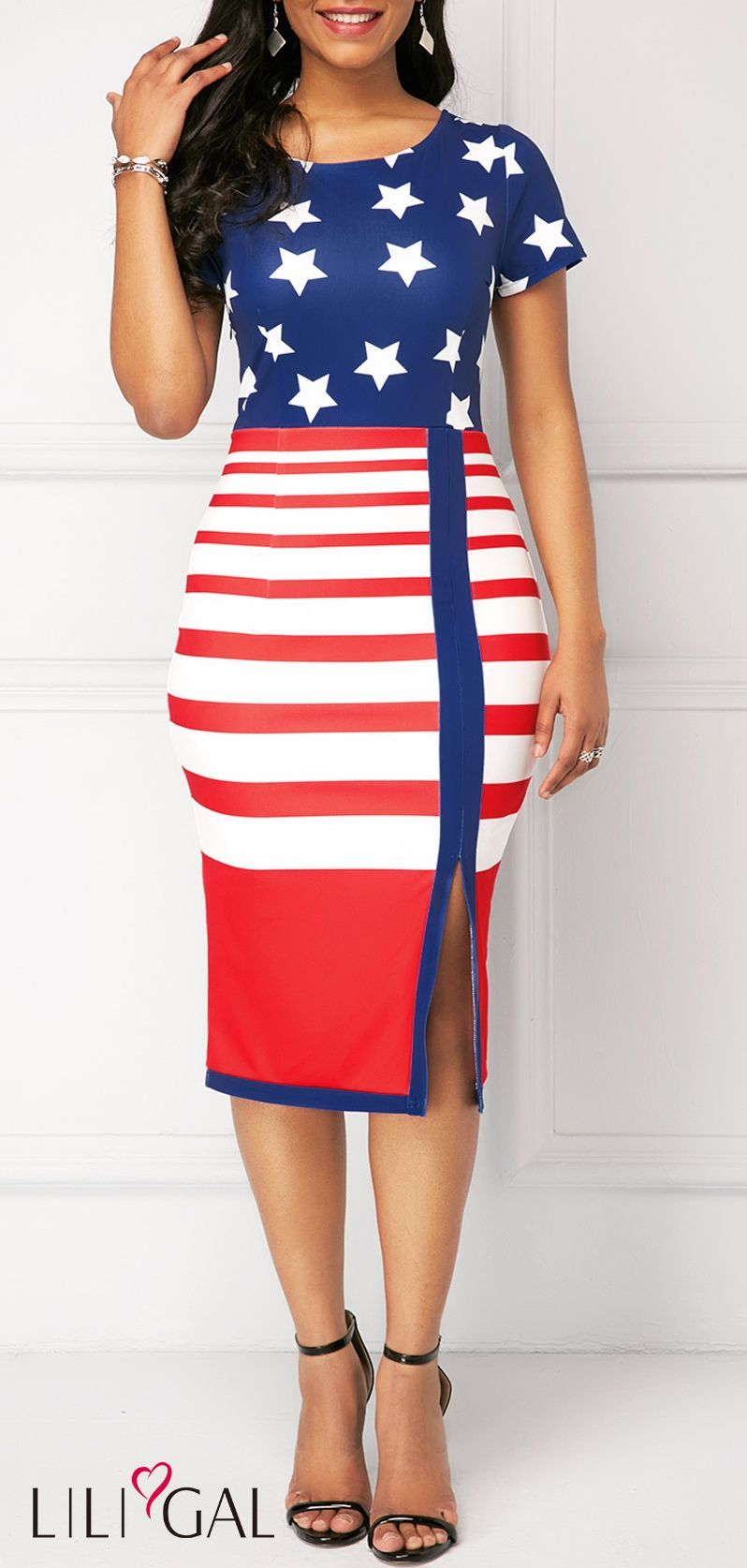 Front Slit American Flag Print Sheath Dress #liligal