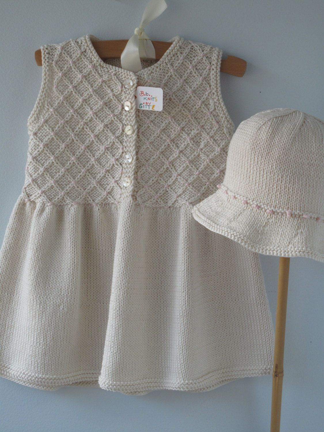 Baby Clothes Handmade Hand Knit Smocked Dress By