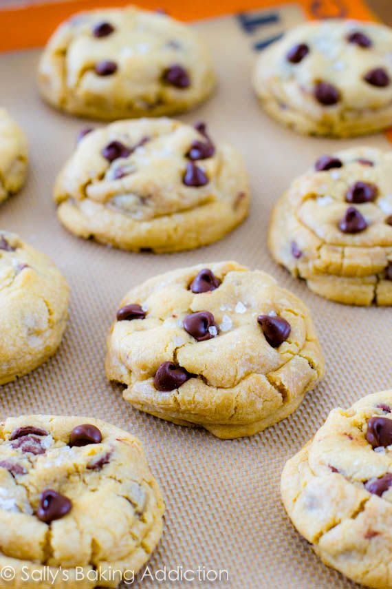 These are AMAZING! Extremely thick, puffy, soft, and chewy chocolate chip cookies are stuffed with gooey caramel and topped with sea salt.