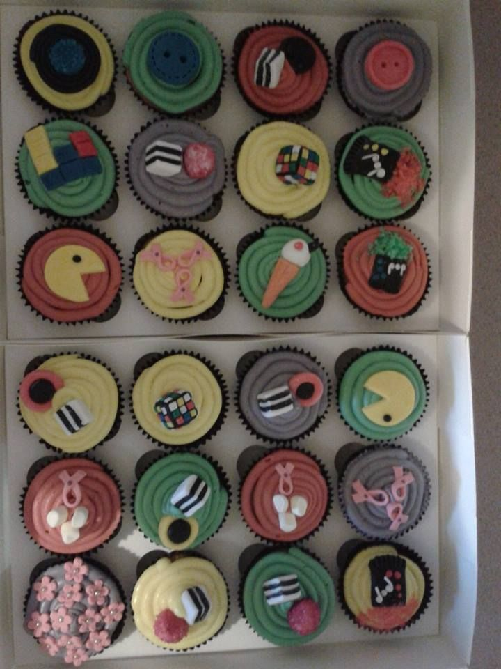 retro cupcakes with liquorice allsorts rubix cubes popping candy