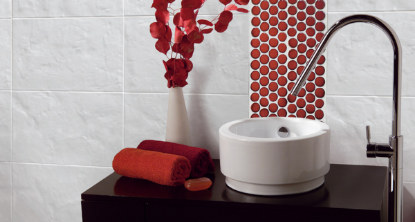 Black White And Red Bathroom Accessories With Circle Accent Tile