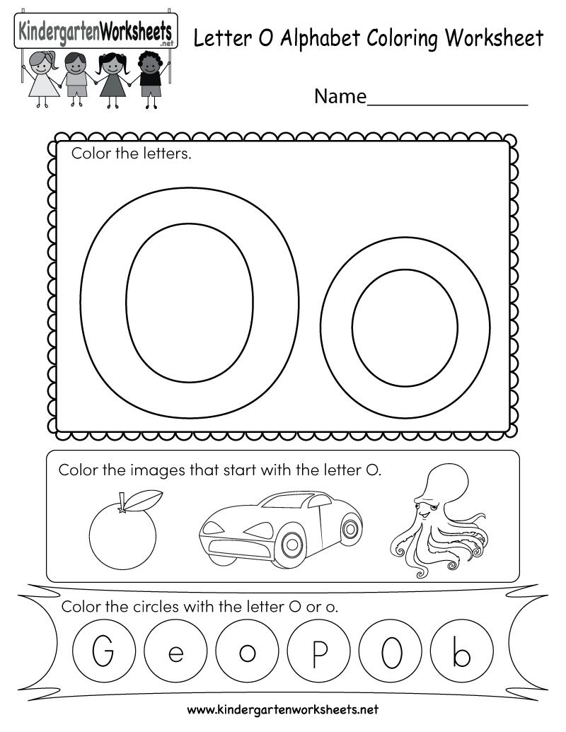 Letter O Coloring Worksheet Free Kindergarten English