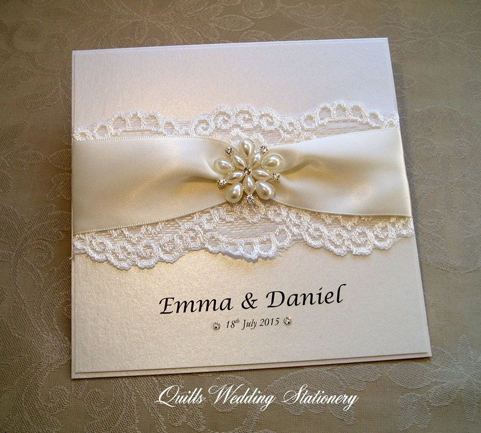 Luxury Pearl And Lace Wedding Invitation By Quillsweddingfavours On Etsy