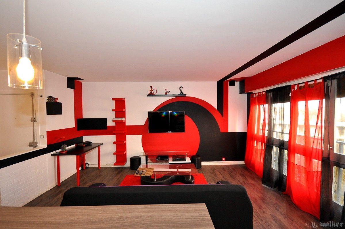 ✓ Salon De Coiffure Moderne Rouge Et Noir Salle de séjour et