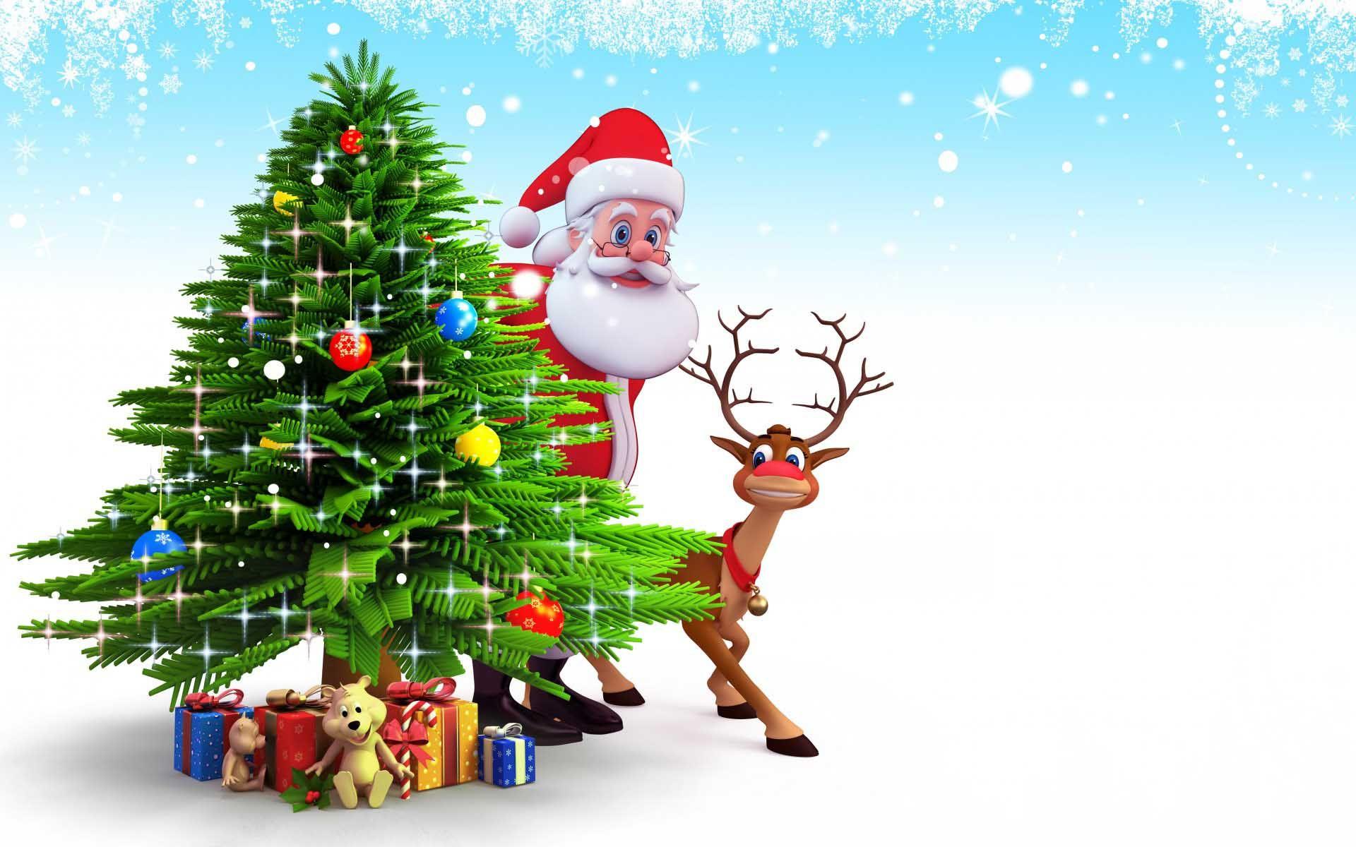 Funny Cartoon Merry Christmas Santa And Happy New Year