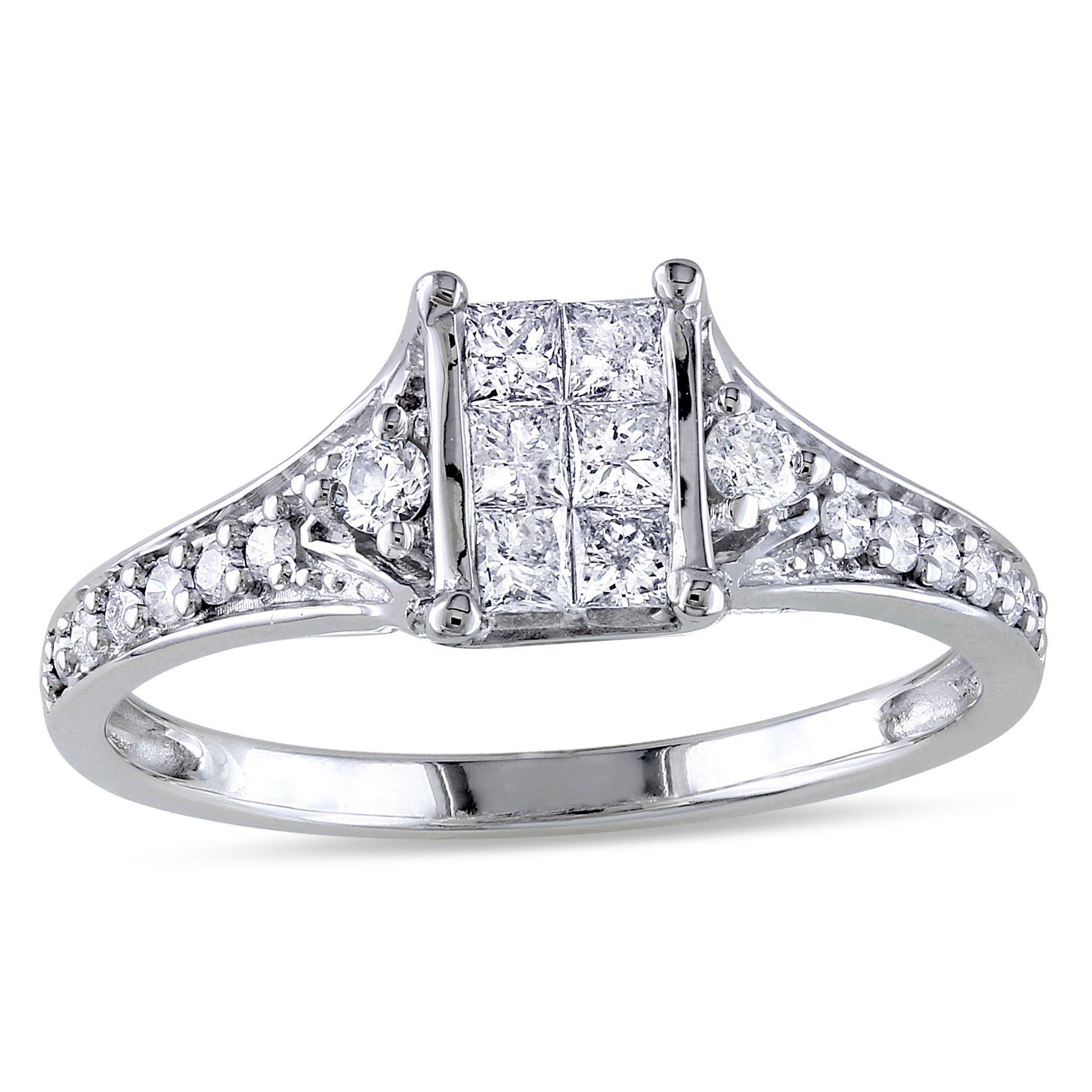 Miadora signature collection 14k white gold 1ct tdw diamond double row - Miadora 10k White Gold 1 2ct Tdw Princess Cut Diamond Engagement Ring G H
