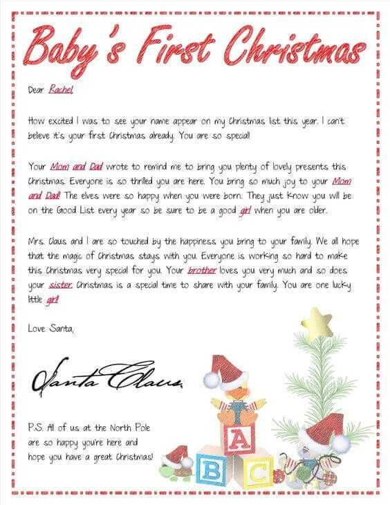 15 Free Printable Letters from Santa Templates Free printable - christmas list to santa template
