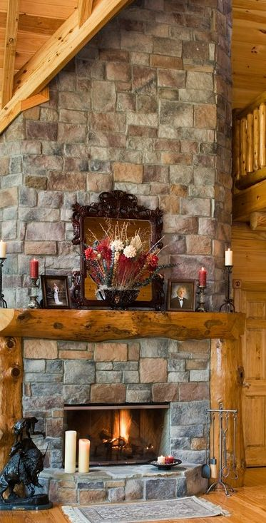 Stunning Fireplace In This Rustic Home Rustic House Home Fireplace Log Home Decorating