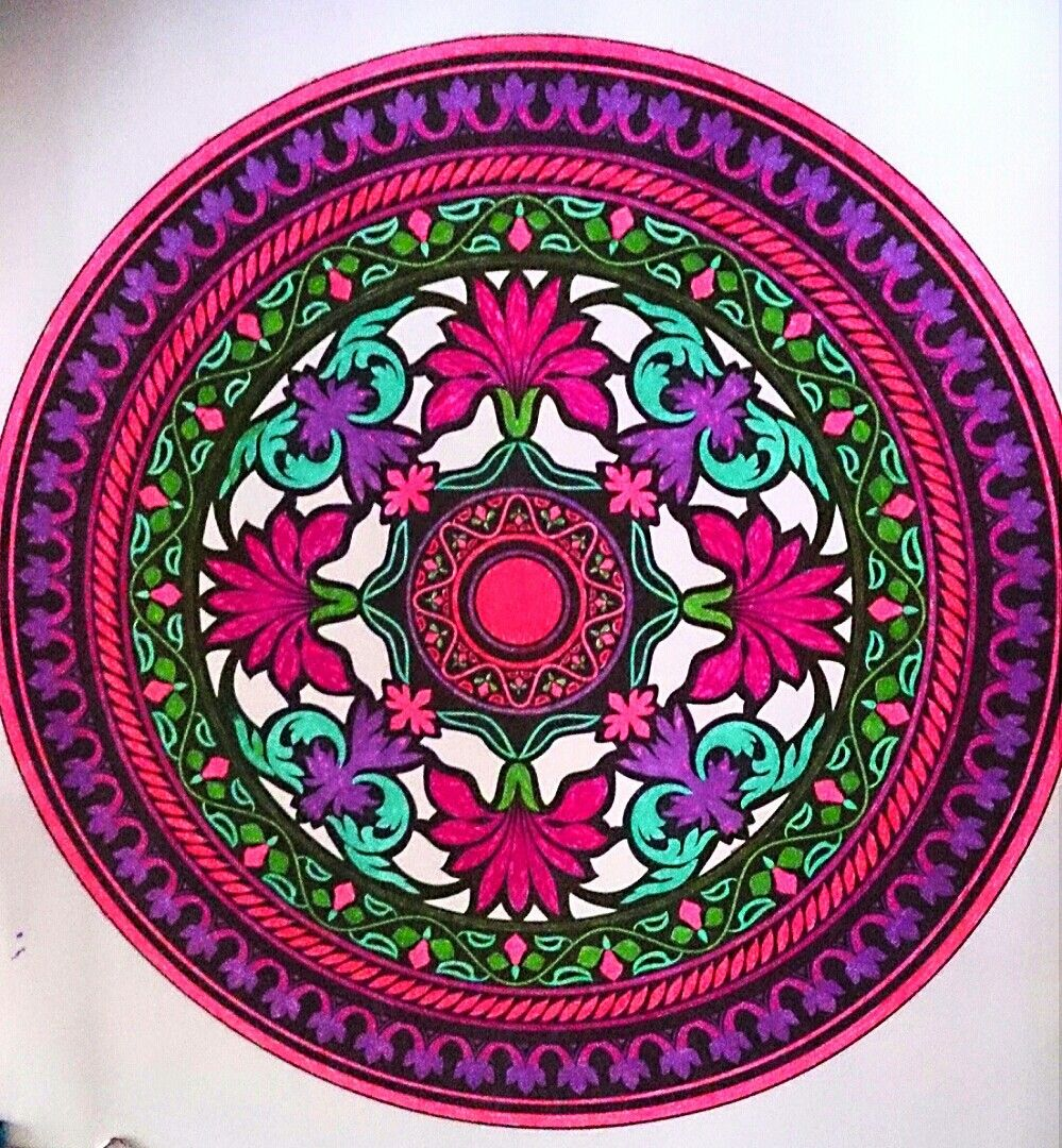Coloring page ,mandala coloring books,,colored with gel pens ...
